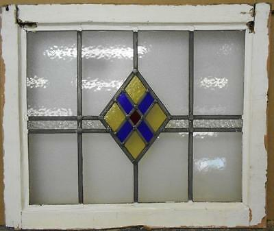 "MID SIZED OLD ENGLISH LEADED STAINED GLASS WINDOW Nice Geometric 23"" x 19.25"""