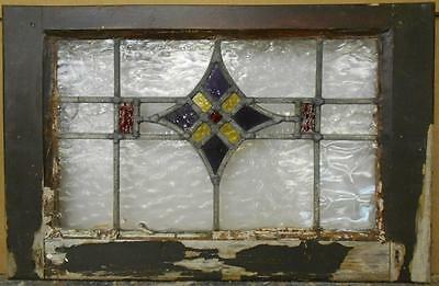 """MID SIZED OLD ENGLISH LEADED STAINED GLASS WINDOW Purple Star 23.75"""" x 15.25"""""""
