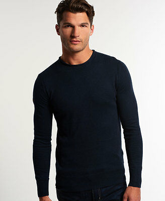 New Mens Superdry High Neck Crew Jumper Eclipse Navy
