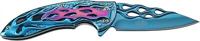 Mtech MTA822BL Titanium Blue Flame Straight Assisted Folding Pocket Knife