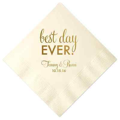 100 Personalized Napkins Best Day Ever Premium 3 Ply Napkins Cocktail Beverage