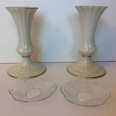"2 Lenox Candlesticks w/ 24K Gold trim 5-1/2"" made in USA + 2 BONUS WAX RINGS"