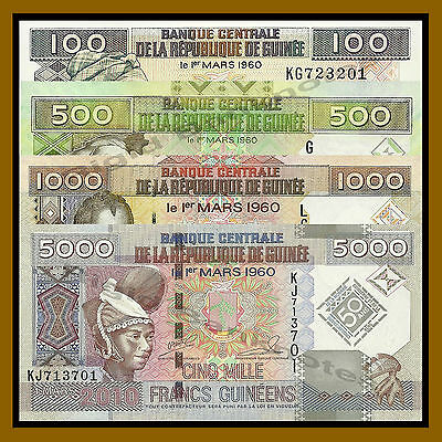 Guinea 100 500 1000 5000 Francs 4 Pcs Full Set, 1998-2010, P-35/39/43/44 Unc