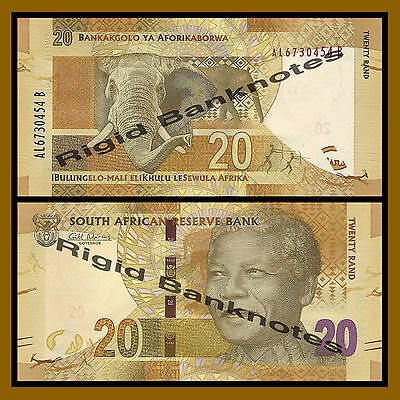 South Africa 20 Rand, ND 2012 P-134 Elephant Nelson Mandela Unc