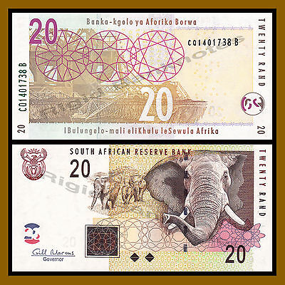 South Africa 20 Rand, 2009 P-129b Elephant Unc