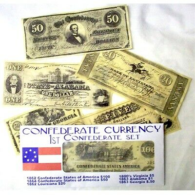 Civil War 1St Confederate Currency Battle Set Repo $100. 50. 20. 5.1.And .50 Cts