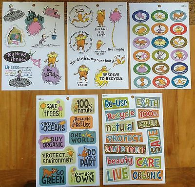 DR SEUSS The LORAX Stickers! 5 Sheets Recycle Earth Buy Organic go Green Natural