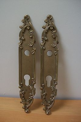 Matching Pair of Vintage French solid bronze door lock plates #24