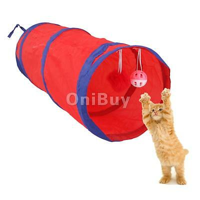 Pop Up Tunnel Activité Exercice Jouet Chat Lapin Chien Chiot Rouge