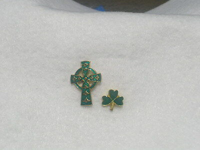 Celtic Cross + Shamrock lapel pin.  FREE SHIPPING and HOLY CARD