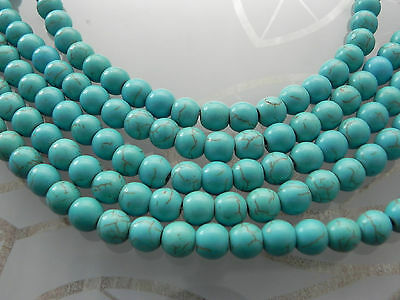 5 Strands x Turquoise Blue/Green Howlite 8mm Beads