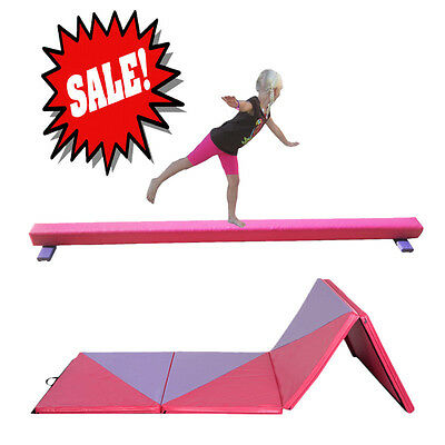 NEW Folding Gymnastics Gym Training 220*10*6.35CM Hot Pink Balance Beam Yoga Mat