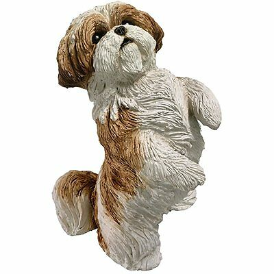 Sandicast Small Size Gold and White Shih Tzu Sculpture, Sitting Pretty