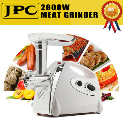 Luxury White Stainless Steel 2800W Electric Meat Grinder Mincer Sausage Stuffer