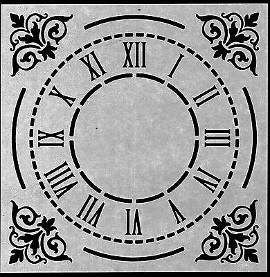 CLOCK FACE WITH ROMAN NUMERALS & DECORATIVE CORNERS RE USEABLE STENCIL - 8 x 8