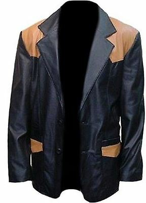 Celebrita X Leather Black Coat With Camel Patches