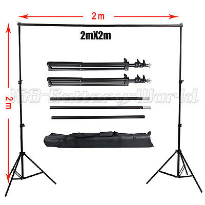 Professional Heavy Duty 2x2m Photo Studio Backdrop Background Stand Support Kit