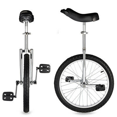 """20"""" Adjustable Height Leakproof Mountain Tire Unicycle Wheel Cycling Silver"""