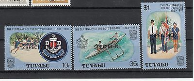 """Tuvalu:1983 Boys Scouts set 3 stamps overprinted"""" Specimen """" MUH/MNH.Going cheap"""