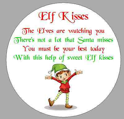 24 x 40mm stickers round christmas elf kisses poem white labels