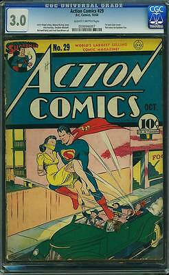 Action Comics # 29  First Lois Lane cover !  CGC 3.0 rare Golden Age book !