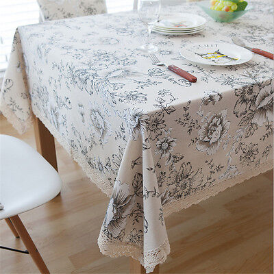 Peony Cotton Linen Table Cloth Cover With Lace Edge Home Kitchen Tablecloth