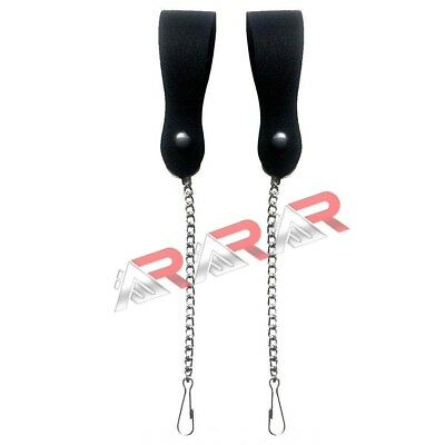 Brand New Pair of Sporran Suspenders Black Leather with Heavy Chain & Heavy Hook