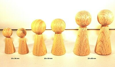Beechwood Cone Figures 36   80 mm - 3 Pieces