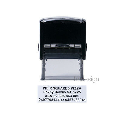 Personalised Self Inking Rubber Stamp Customised Business Name Address 18x47mm