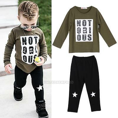 2Pcs Toddler Baby Boy Long Sleeve T-shirt Tops+Pants Legging Outfits Clothes Set