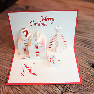 3D Stereoscopic Holidays Castle Tree Merry Christmas Paper Cards Greeting Card