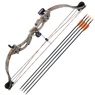 """34"""" Youth Compound Bow Kit Target w/28"""" Arrow Set Junior Archery Hunting 20lb"""