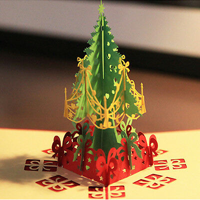 3D Stereoscopic Holidays Tree Merry Christmas Paper Cards Greeting Card
