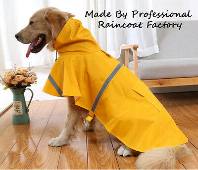 Waterproof Dog Raincoat Dog Coat Jacket Reflective Clothes Size S M L XL