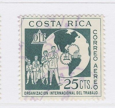 A2P51 COSTA RICA AIR POST STAMP 1961 25c USED