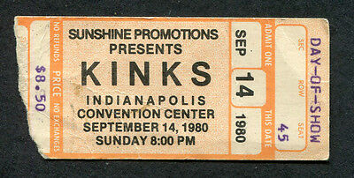 Original 1980 The Kinks concert ticket stub Indianapolis One For The Road Lola