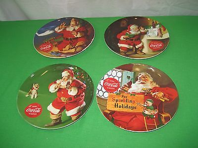 Vintage Set 4 Coke COCA COLA Santa Clause Christmas Collector Plates by Gibson