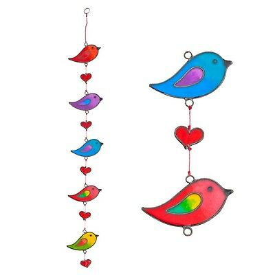 Colourful String of Birds Suncatcher Stained Mobile Window Hanging Home Garden