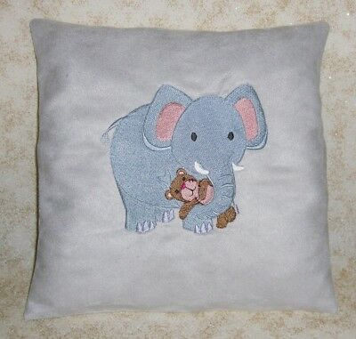 Gray Suede Elephant  Embroidered Baby Pillow, Nursery Decor, Baby