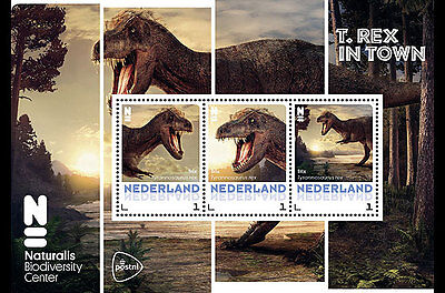 2016 Netherlands T. Rex in Town Dinosaur M/S MNH unusual unique stamp + postcard
