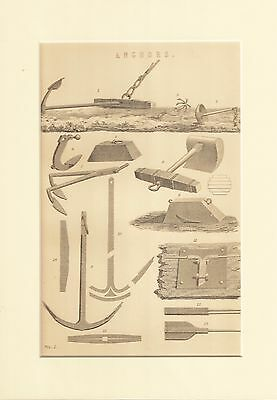 Genuine 1850's A4 mounted print. Anchors.
