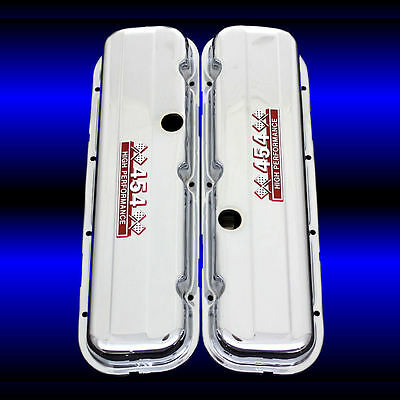 Chrome Valve Covers Fits Big Block Chevy 454 Engines Factory Height 454 Emblems