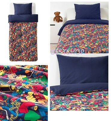 NEW IKEA HEMMAHOS KIDS TWIN DUVET COVER AND PILLOWCASE(s), DARK BLUE NWT