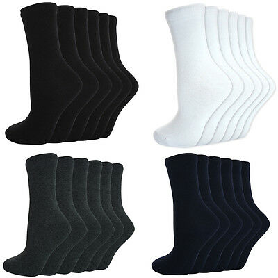 12 Pairs Girls Kids Unisex Back To School Plain Ankle Socks Cotton Uniform