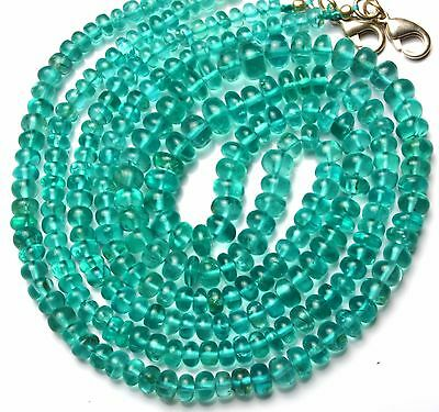 """Natural Gem Super Quality Green Apatite 4-6MM Smooth Rondelle Bead Necklace 18"""""""