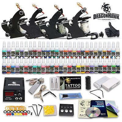 Professional Complete Tattoo Kit 4 Top Machine Gun 54 Color Ink 50 Needles