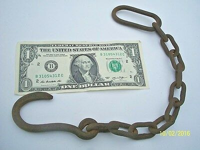 Great, Rustic, Antique, Blacksmith Forged Hook & Chain