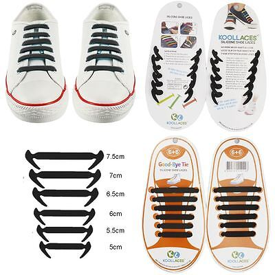 BLACK No Tie Elastic Silicone Shoe Laces For Adults & Kids Trainers Shoes Canvas
