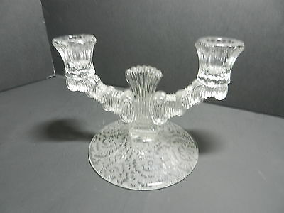 """Paden City Crystal Largo Two Light Candlestick Etched Base 5 1/8"""" T ca 1937"""