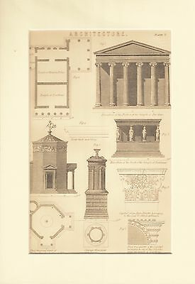 Genuine 1850's A4 mounted print. Architecture.Classical.
